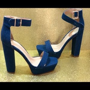 Banging blue jean heels